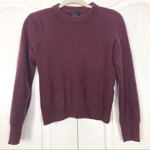 Rag & Bone Ace Cashmere Crop Sweater Maroon S